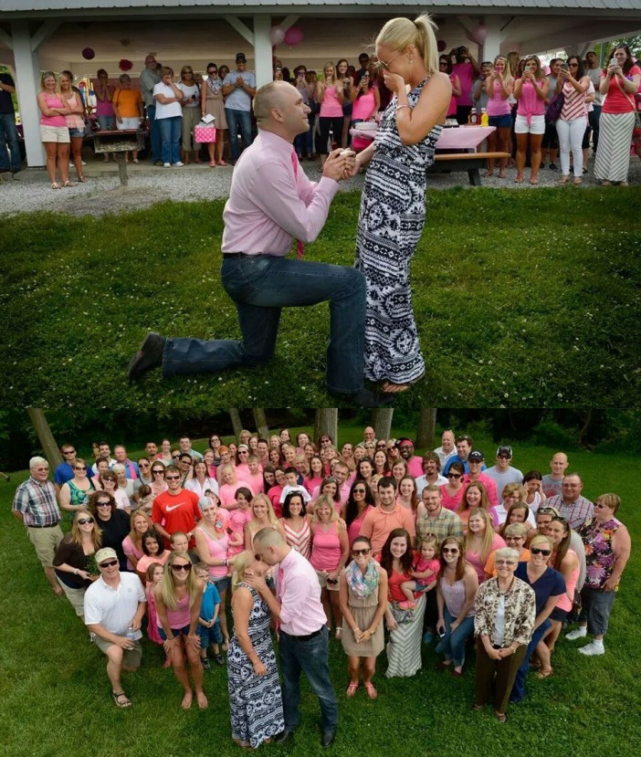 One man surprised his 26-year-old girlfriend, a breast cancer patient, by proposing to her pre-surgery.