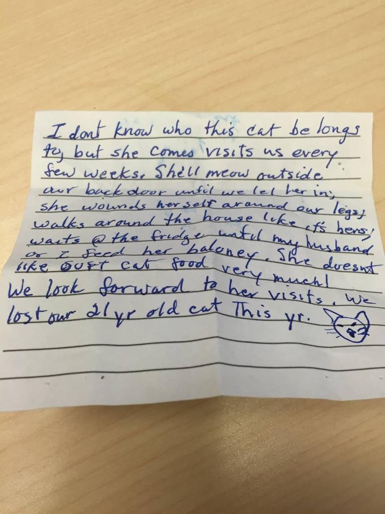 他發現女友的貓總是會莫名消失,直到有天看到貓咪帶回一張紙條才知道「最溫馨可愛的真相」!