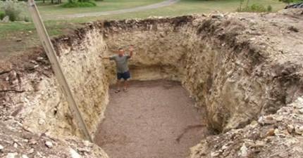 他在自家後院挖了一個長方形巨大坑洞,最後成功打造了一座「會讓男人拋棄家人永遠移居的夢幻寶庫」!