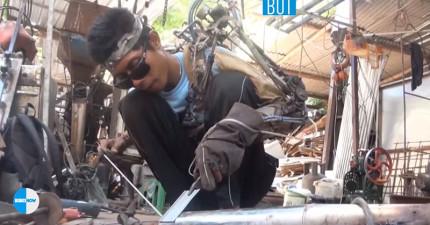 這名印尼焊接工因為「左手癱瘓無法工作」,走投無路下他居然靠廢零件打造出真的「鋼鐵人手臂」!