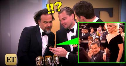 李奧納多發現「自己被女神卡卡撞到後的驚喜反應」爆紅後,他看那段影片時的超有戲表情又再次讓網友狂讚!