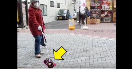 日本街頭出現一名牽著「會向人叫的隱形狗狗」的怪人,後來才真相大白原來透明狗狗是...