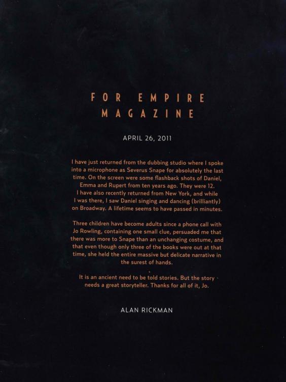 這就是艾倫瑞克曼給《哈利波特》3個主角的離別感言,讀的讓人忍不住紅了眼眶...
