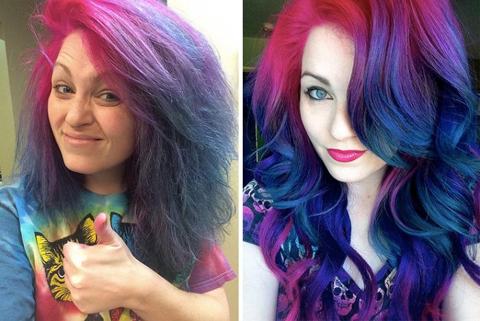 彩虹髮妹子用「7張自拍照」說明人生 拆穿「亮麗外表」背後的真相:你們都被騙了!