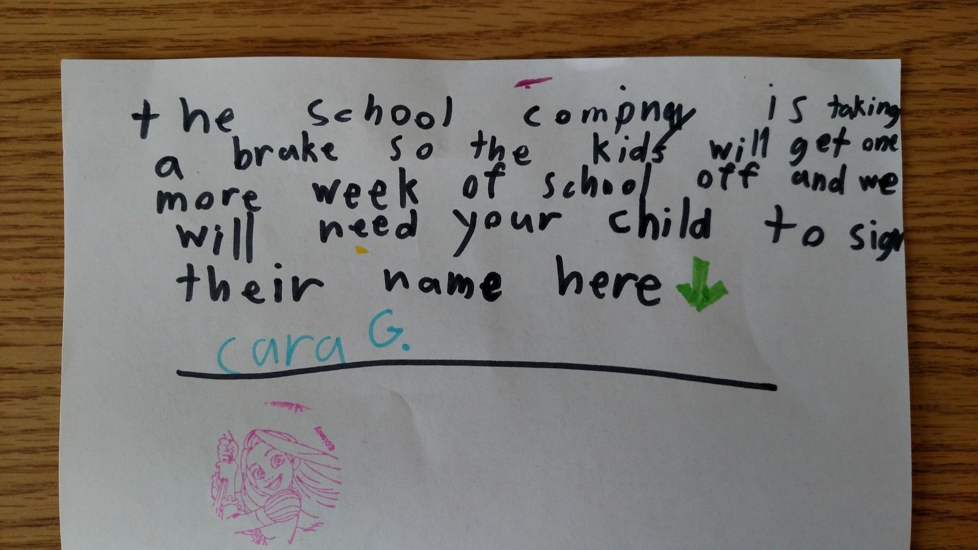 家長在信箱裡收到了一個很詭異「來自學校的信」,一拆開看到小女兒設下的騙局都笑噴了!