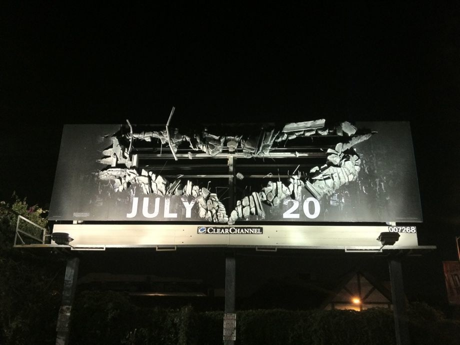 'The Dark Knight Rises' billboard brings the action to life.
