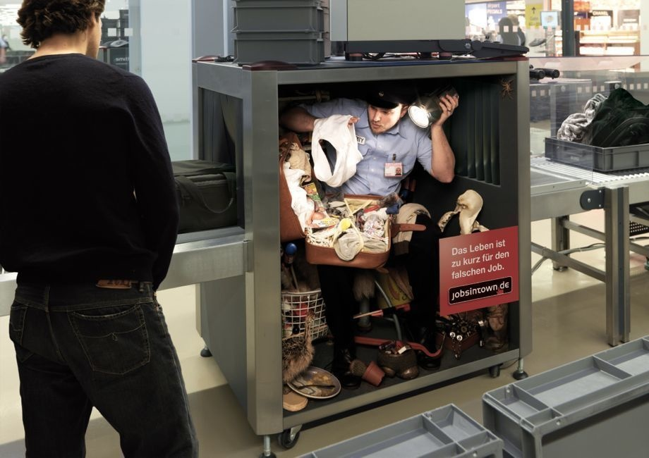 German recruitment site, jobisintown.de, has ads that show humans working like machines. Feel like this at your job? Get a new one!