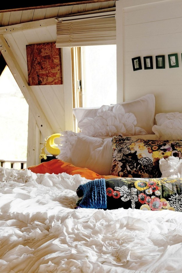 Go all out on pillow bedecking.