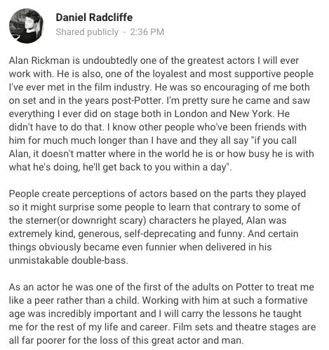 巨星艾倫瑞克曼因癌症去世後,「哈利波特演員紛寫下的悲傷悼念」證明我們真的失去太多了...