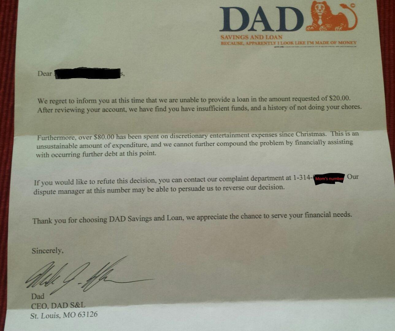 在6歲女兒跟老爸要670元的零用錢後,老爸竟然搞笑回了一封「老爸銀行正式書信」內容笑翻網友!
