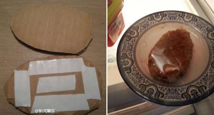 他的室友講不停一直偷吃他的東西,他忍無可忍先是剪出兩片雞排大小的紙板黏在一起...現在這DIY已經被分享10萬次了!
