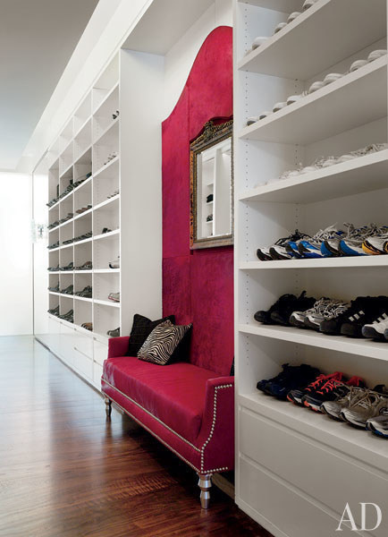 Donny Deutsch has a custom closet space for all of his shoes, along with an incredible pony hair bench in the middle to sit on when putting them on.