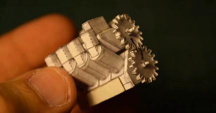 他用紙做出「迷你V8引擎」時已經讓很多人震驚了,更扯的是當這顆引擎「真的轟轟轟開始發動」時...