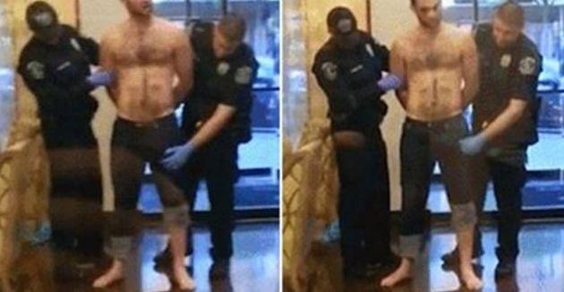 警察對嫌犯進行搜身時在口袋附近摸到「可疑強大武器」,但摸到一半發現是「男性猛獸」時就...