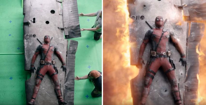 這就是超低成本英雄電影《死侍》未加特效前的「怎麼做到」拍攝幕後真相,看到金屬人被製作的過程真的太不可思議了!