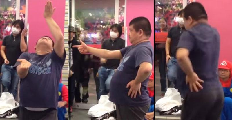 旁人站在胖胖男生旁邊看到他選跳舞遊戲「最難模式」等他出糗,到最後都有路人忍不住停下來觀賞呢!