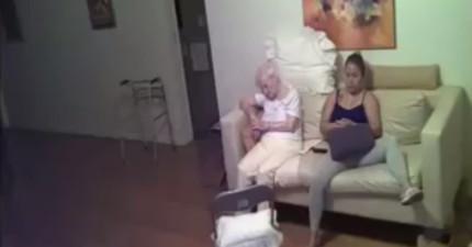 她原本只是懷疑看護對待94歲老母親有點粗魯,但看完偷拍的「人神共憤畫面」後你也會大罵髒話!