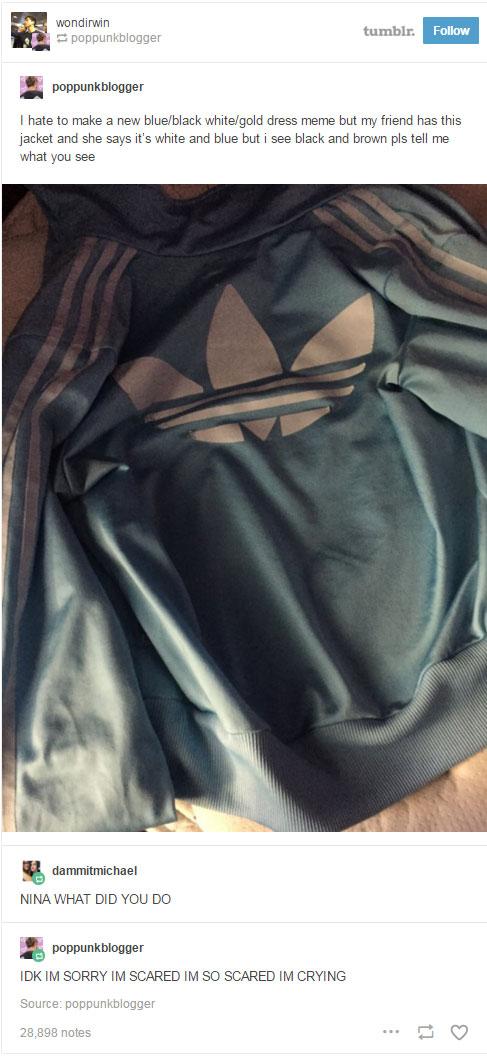 這件夾克所有人都看到不同顏色!上傳者都已經快被嚇哭了...你看到什麼顏色?