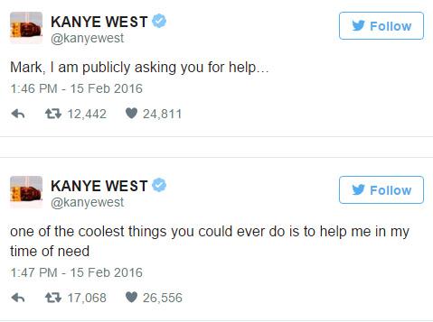 肯伊威斯特公開狂PO文求臉書創辦人給他10億美元,他說「在非洲蓋學校不如資助我」...