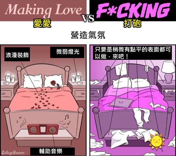 6個「愛愛」跟「打砲」最大的差別!看完這些爆笑比對圖你就知道另一半對你是否真心了...