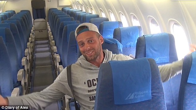 Alex Simon, 28, had the entire Philippine Airlinesplane to himself as he travelled from Manila to Boracay