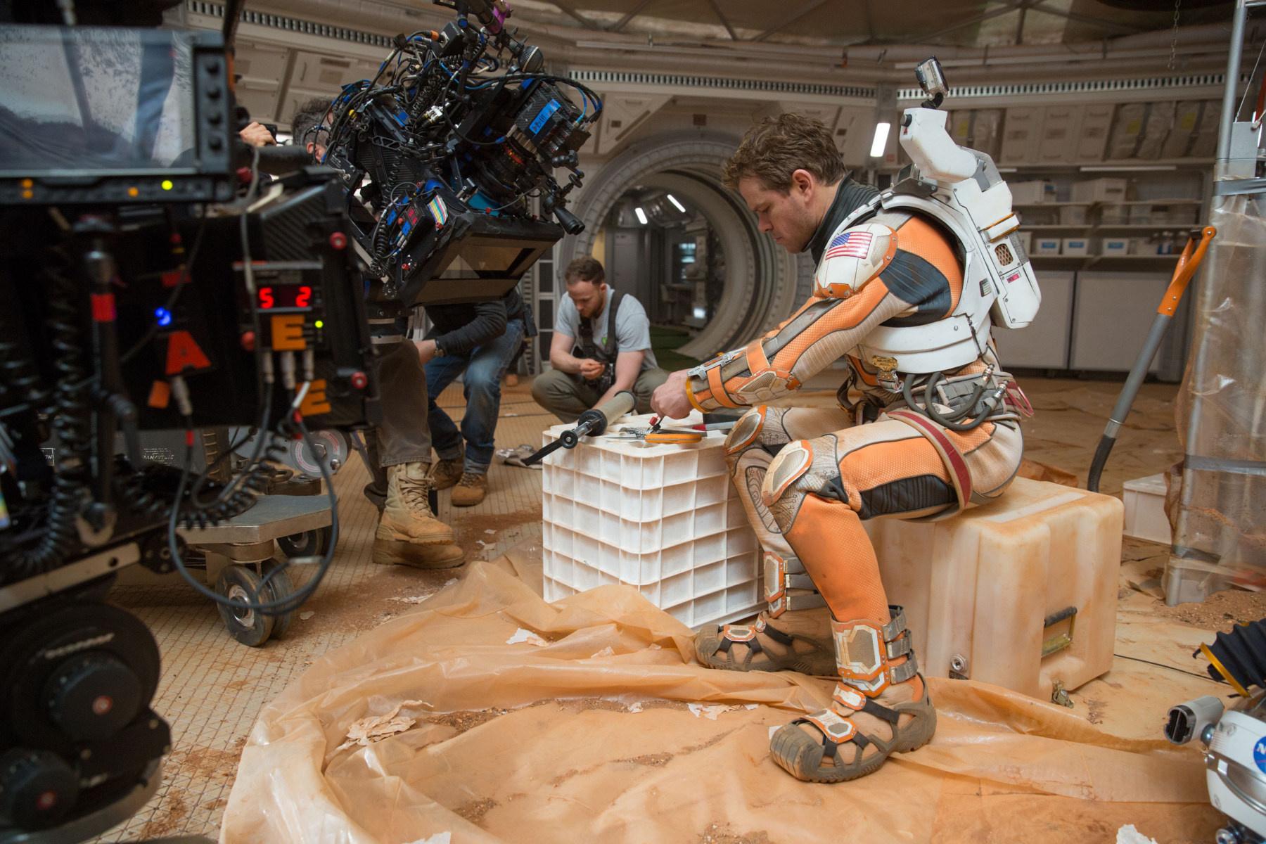 Matt Damon getting handy for a scene in The Martian.