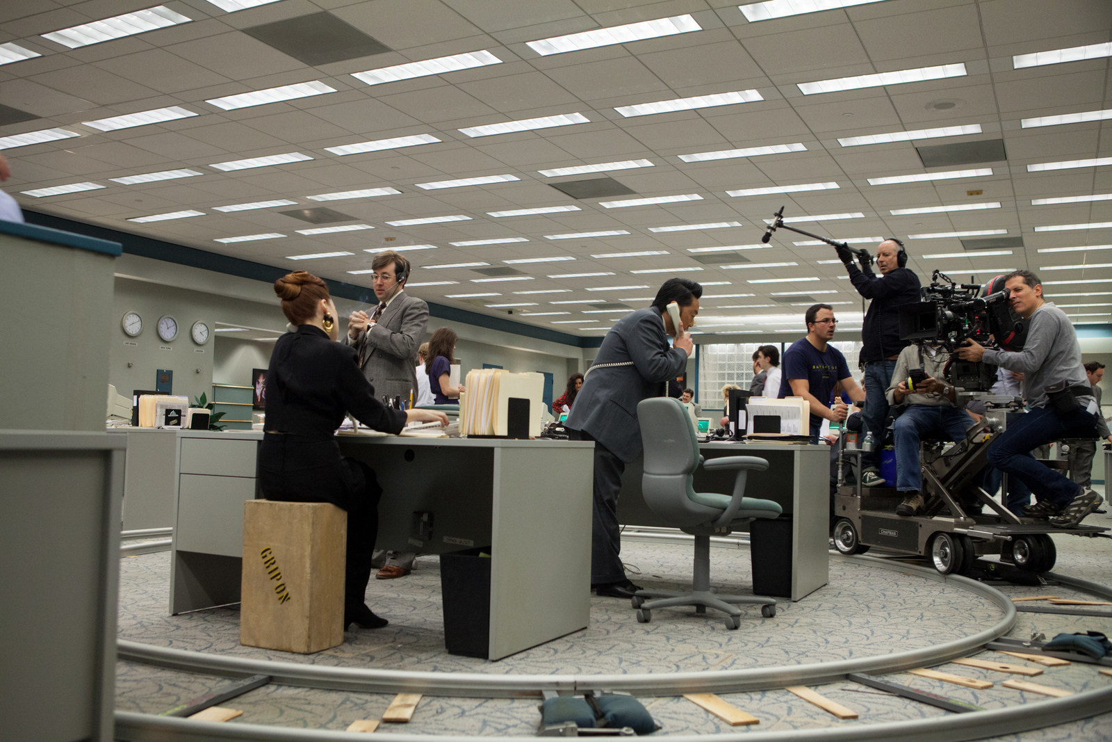 The tracks to create the fast paced 360 degree scene for The Wolf of Wall Street.