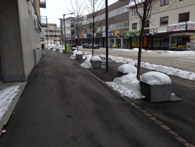 Heated sidewalks to get rid of snow and ice.