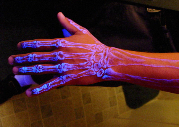 X-ray vision of the bones underneath the skin.