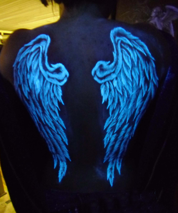 A wing on each shoulder blade.