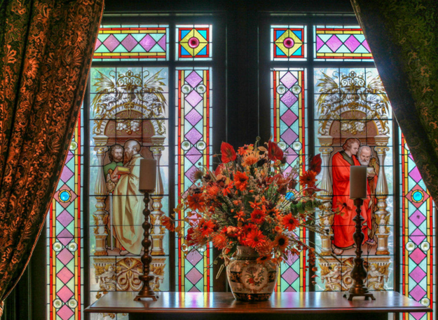 You can purchase it, stained glass and all, for the low price of $399,000.