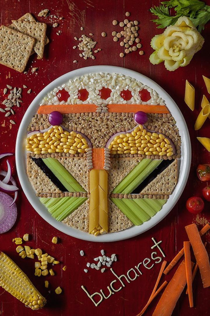 Food art illustrating a symmetrical representation of Bucharest.