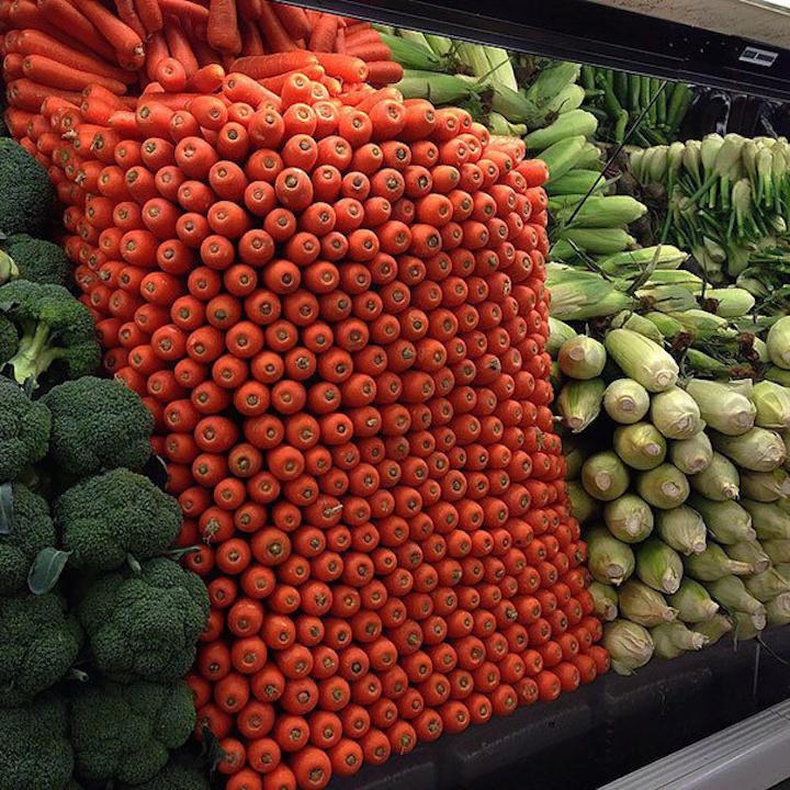 Organized vegetables.