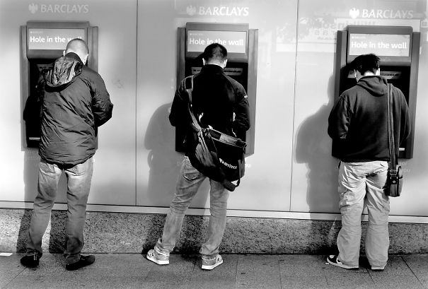 Men Taking A Leak At An Atm: Liverpool.
