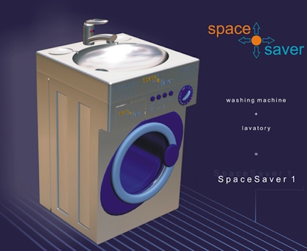 The space saver - lets you drink water and wash your clothes at the same time.