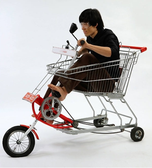 A shopping cart bike.