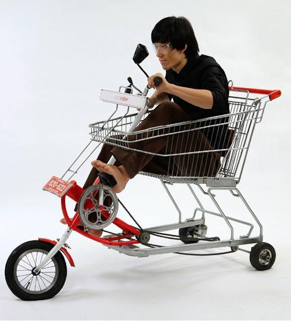 A shopping cart bike.