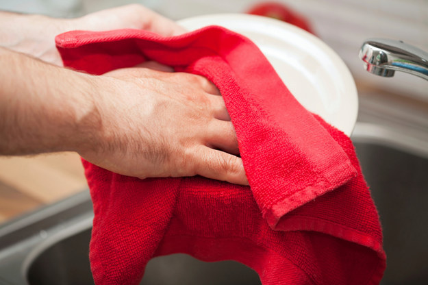Using the same old hand towel to dry dishes and your hands.