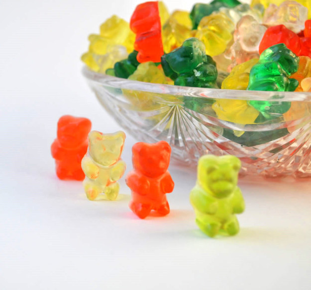 These FREAKING ADORABLE gummy bear soaps.