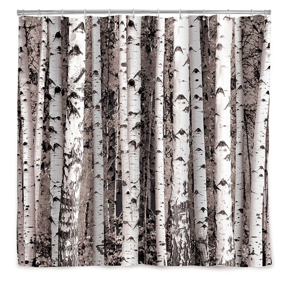 This shower curtain to create a birch forest.