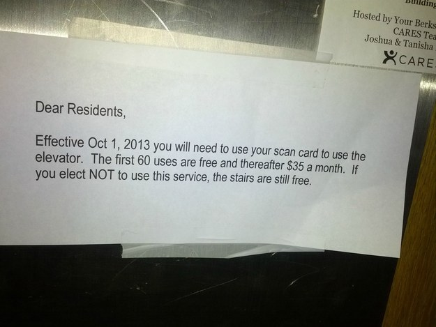 This landlord who started charging their tenants to USE THE ELEVATOR.