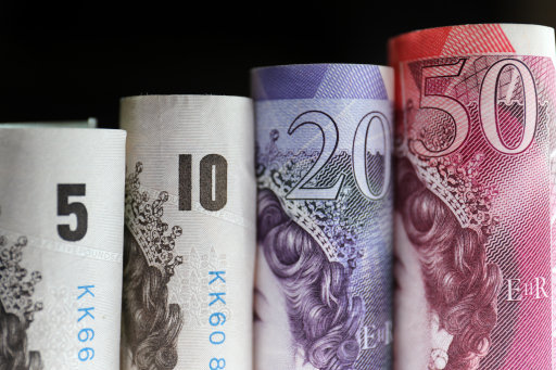 Stock picture of Fifty, Twenty, Ten, and Five pound notes.