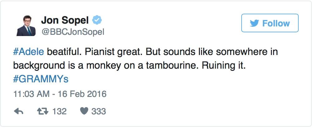 愛黛兒在葛萊美獎演出走音大出槌還有人說小賈唱得都比較好,不過她事後的超幽默回應讓網友氣都消了!