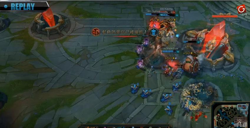 LOL畫面中看到HKE隊伍把對方全殺光幾秒後就可以把主堡打爆,但接下來的「史上最扯」大逆轉讓丁特整個傻眼了...