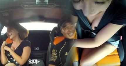 這名賽車手帶低胸辣妹搭藍寶堅尼狂轉彎,但不知道為什麼攝影機放的位置要這麼讓人臉紅...