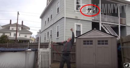 他想要嚇嚇女友就把女友的狗寶寶身上綁著氣球,結果當真的飛走時...