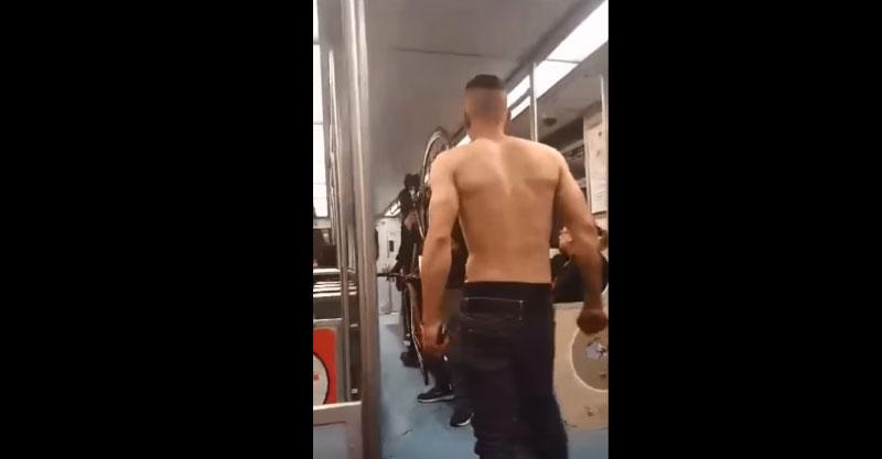 這個耍流氓男子在電車上不停的威脅其他乘客,但他不知道他的「呼吸命運」很快就會急轉直下...