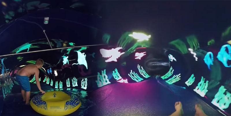 這個在郵輪上花1分鐘才能溜完的終極水上溜滑梯,一進去看到7種世界讓人覺得已經進入時光隧道了!