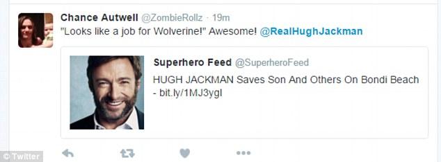 民眾看到休傑克曼很急忙的衝下海裡,看到最後網友全都發現他是真正的超級英雄!