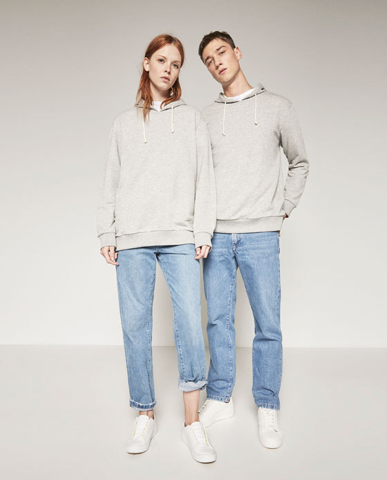 Sold on Zara.com, the promotional images for the collection feature both male and female models showcasing the same clothing.